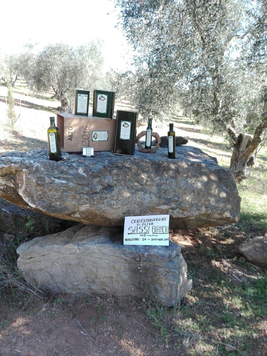 Bottiglie e lattine di olio EVO toscano Sassi Bianchi